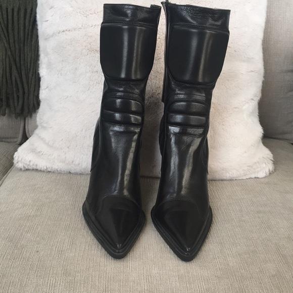 Miu Miu Black Leather Boots Stiletto